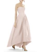 pink bridesmaids high-low strapless dress