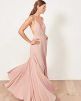 pink a-line spaghetti strap bridesmaid dress