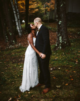 rivka aaron wedding bride reception dress couple kissing