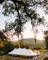 wedding tent sunset