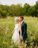 rose chris wedding couple in field