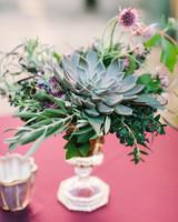 succulent wedding reception table bouquet