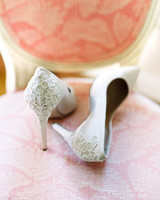 White Heels with Lace Applique