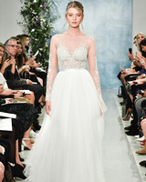 theia sheer wedding dress with long sleeves fall2018