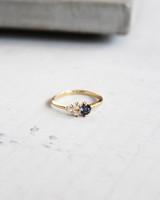 Three diamonds deep violet star engagement ring
