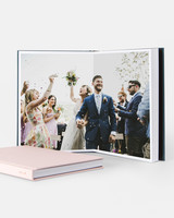 wedding photo albums lay-flat small square pink cover