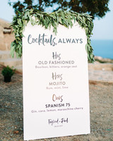 wedding bar sign menu paper greenery outdoor