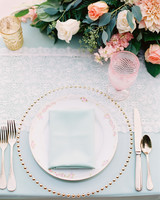 blue wedding place settings