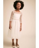 winter flower girl dress cream with sheer sparkly three-quarter sleeves