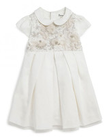 winter flower girl dress short-sleeved with embroidered tulle bib