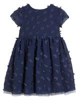 winter flower girl dress short-sleeved navy dress with applique butterflies