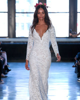 wtoo watters wedding dress spring 2019 long-sleeve plunging neck lace