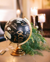 guest book globe gold black signatures