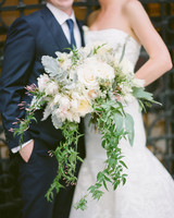 cascading protea wedding bouquet