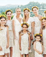 bride, bridesmaids, flower girls