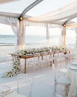 beach wedding ideas sheer tent with ocean backdrop