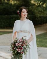 v-neck wedding dress with cape