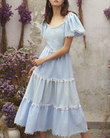 spring bridal shower dress blue ruffled midi