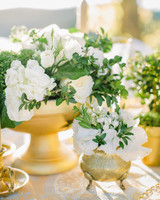 Gold Cluster Centerpieces with White Flowers