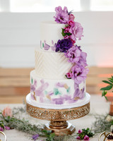 purple-and-white wedding cake