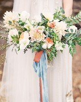 dahlia bouquet with ribbon