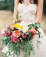 vibrant dahlia wedding bouquet