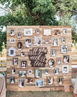 family photo wall with song lyric