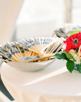 Dutch-delft pattern fan wedding favors