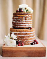 Naked Caramel Carrot Cake with Cherries and Garden Roses