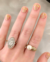 engagement ring selfie gold geometric manicure and pearl ring