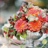 Dahlia and Berry Fall Wedding Centerpiece