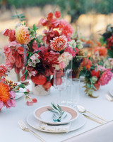 Fall-Hued Centerpieces with Fresh Fruit