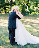Father-Daughter Wedding Photos, Emotional Hug