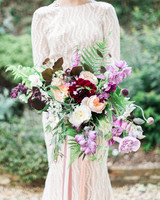 Fern Wedding Bouquet with Garden Roses and Dahlias