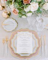 glamorous wedding ideas gold pink table setting