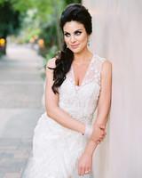 bride with hair half up half down