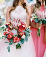 heat resistant bouquets bride ad bridesmaid duo