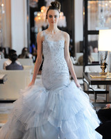 tiered tulle trumpet beading glitter wedding dress Ines Di Santo Spring 2020