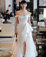 off-the-shoulder high-low lace tulle wedding dress Ines Di Santo Spring 2020