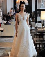 spaghetti strap deep v-neck embroidered lace a-line wedding dress Ines Di Santo Spring 2020