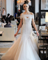 off-the-shoulder tulle exposed boning trumpet wedding dress Ines Di Santo Spring 2020