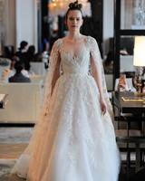 sweetheart lace floral applique long cape a-line wedding dress Ines Di Santo Spring 2020