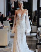 plunging v-neck lace clear spaghetti strap tulle off-the-shoulder bell sleeves wedding dress Ines Di Santo Spring 2020