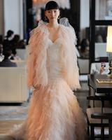 tiered tulle long sleeves and skirt sweetheart neckline mermaid wedding dress Ines Di Santo Spring 2020