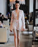 pink and orange floral applique beaded hem jacket shorts set beaded tights Ines Di Santo Spring 2020