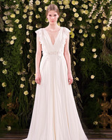 jenny packham wedding dress spring 2019 gathered v-neck with flutter sleeves