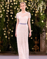 jenny packham wedding dress spring 2019 short-sleeve belted sheath