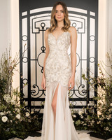 jenny packham beaded spaghetti strap sheath wedding dress with slit spring 2020