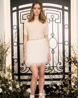 jenny packham short sleeve short wedding dress with feathered skirt spring 2020