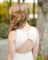 bride's side swept hairstyle